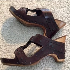Frye wooden heeled leather sandals